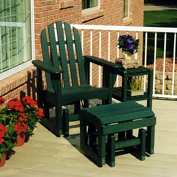 POLYWOOD Adirondack Glider Chair Ottoman Outdoor Seating Set